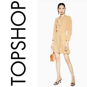 TOPSHOP Long Sleeve Pintuck Belted Mini Dress